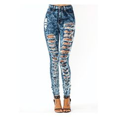 High-Waisted Destroyed Jeans ($55) ❤ liked on Polyvore featuring jeans, pants, bottoms, calças, high waisted distressed jeans, distressed skinny jeans, ripped jeans, acid wash skinny jeans and stretch jeans