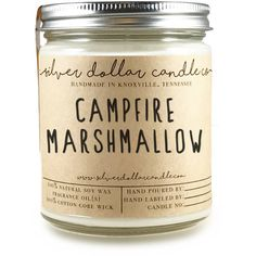 Campfire Marshmallow Scented Candle Soy Candle Marshmallow Handmade... ($14) ❤ liked on Polyvore featuring home, home decor, candles & candleholders, candles, candles & holders, container candles, home & living, home décor, silver and soy wax candles