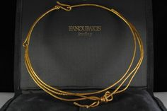 Authentic Fanourakis 22K Gold String Knot Necklace/Choker from the Ribbons Collection #Fanourakis #Choker