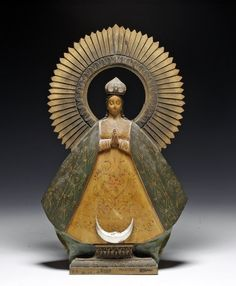 Antique Mexican Santos - Our Lady of Guadalupe Mexico, Ca 1900 to 1920 CE. Lovely carved and painted wood Santos in the form of Our Lady of Guadalupe. Religious Images, Religious Icons, Religious Art, Jean Paul Ii, Saint Esprit, Wood Carving Art, Blessed, Mexican Folk Art, Sacred Art
