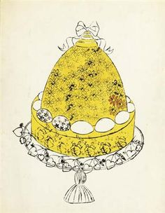 Andy Warhol Honeycomb Yellow Cake, c. 1959 Hand-colored blotted ink line drawing on paper. 28 x 22 1/2 in.  Estimate $30,000 - 40,000