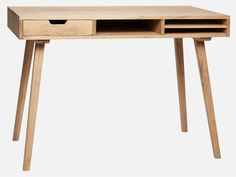 Unique wooden desk by Hubsch Interior is made from oak and the desk has three practical compsrtments. Great addition to your home or home office. - Material: oak - Dimensions: 110 x 57 x - Delivery only within EU - Delivery time: Usually ships Wood Pallet Furniture, Table Furniture, Vintage Furniture, Home Furniture, Furniture Design, Oak Desk, Wooden Desk, Bureau Design, Minimalist Desk
