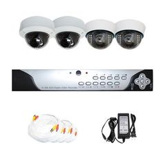 """Complete 4 Channel CCTV Real Time DVR (500G Hard Drive Included) Surveillance Video System Package with (4) Pack of 1/3"""" Sony CCD Outdoor and Indoor Security Dome Cameras by Gw. $530.00. Package includes:      GW9104V - 4 channel network DVR with 500G HD;     Remote Control and mouse;     DVR User Manual;     2 x GW2011A -1/3"""" SONY CCD  Outdoor Dome Camera;     2 x GW724A -1/3"""" SONY CCD  Indoor Dome Camera;     1 x GW125CAW: 125 feet pre-made cable BNC;     1 ..."""