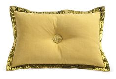 Embellished Avocado Lumbar Pillow by Michelle Hatch -- 20x14 -- 295.00 retail -- Avocado lumbar pillow with satin knife-edge trim and Swarovski crystal-encrusted button.