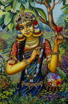 Radha On Govardhan Hill Painting by Vrindavan Das from Vrindavan, India