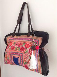 Fairtrade Hill Tribe leather detailing and strap Handbag e76e9ca5b8f1b