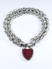 TERRIFIC ANTIQUE VICTORIAN ENGLISH SILVER WIDE CHAIN BRACELET w/ HEART PADLOCK