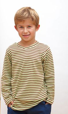 Organic cotton long sleeve cocoa/lime striped V-neck t-shirt with no cuffs. Sizes 12 mos to youth 10.