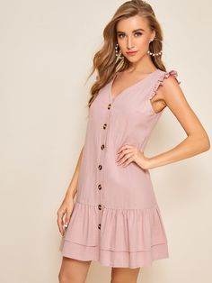 To find out about the Button Front Layer Ruffle Hem Dress at SHEIN, part of our latest Dresses ready to shop online today! Cute Summer Dresses, Casual Dresses For Women, Girls Dresses, Fashion 101, Fashion Looks, Dress Outfits, Fashion Dresses, Ankara Gown Styles, Button Front Dress