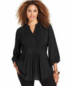 Spense Plus Size Three-Quarter-Sleeve Crochet Pintucked Top - Plus Size Tops - Plus Sizes - Macy's