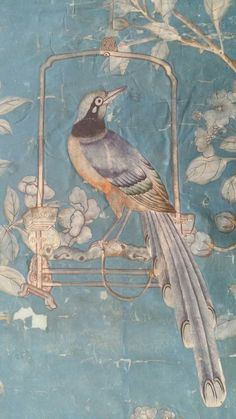 A section of the Chinese bird-and-flower wallpaper from Moor Park, Hertfordshire, now in the Victoria and Albert Museum which was being treated as the conference delegates visited the conservation studio. It is closely related to Chinese wall Chinoiserie Wallpaper, Chinoiserie Chic, Hand Painted Wallpaper, Wall Wallpaper, Typography Wallpaper, Fresco, Papier Paint, Chinese Wallpaper, Fu Dog