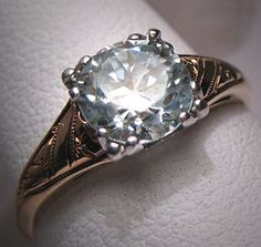 Antique White Sapphire Wedding Ring Vintage Art Deco anillos boda