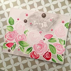 I think this is card no5 done with @altenewllc Bamboo Rose stamp set (told you I am obsessed ) On this one I stamped one of the sentiments from the set too which is perfect for a friend who should get some encouragement for a decision she made. It could also work for a #pinkwarrior, October is #breastcancerawareness month after all and this card is quite pink. I tried being clever and using enamel accents directly on the card instead of dripping it on acetate and let them dry first. It…