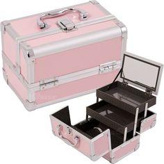 Pink Makeup Case W/Mirror - M1001 - salonhive.com #pinkmakeupcase #makeupcase #makeupcasemirror