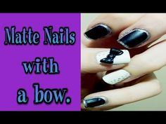 Matte Nails with a bow.