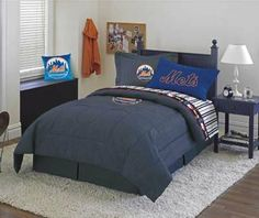 NY Mets Full Comforter & Sheet Set by Dan River Sports Zone. $129.99. NY Mets Full Size Denim Comforter with Percale Sheet set.  Set includes full comforter,. Full Flat sheet,Full Fitted sheet and 2 pillowcases.. Mets Denim Comforter is 100% cotton denim covered with 100% polyester fiberfill.  Sheets & Pillowcases are 180 thread count 50/50 Cotton/polyester blend.