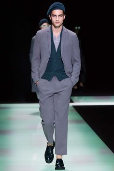 Ribbed seersucker effect, pleated pants | Emporio Armani Spring 2016 Menswear - Collection - Gallery - Style.com