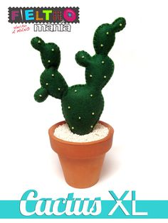 Cactus hecho a mano en fieltro. Mod. XL Oscuro Perlita - 9,00€ -