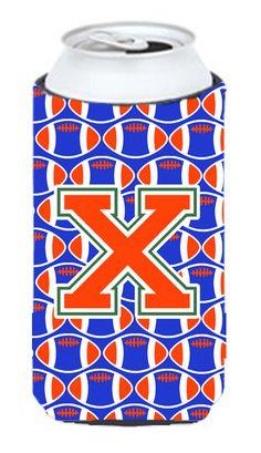 Letter X Football Green, Blue and Orange Tall Boy Beverage Insulator Hugger CJ1083-XTBC