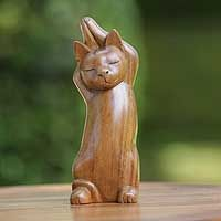 Wood sculpture, 'Kitty Cat Stretch'