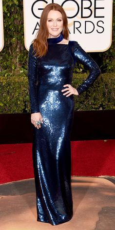 メタリックでタイトフィットなドレスはハイファッションの特権 Eric Wilson's Top 10 Best Dressed at the 2016 Golden Globes - Julianne Moore in Tom Ford  - from InStyle.com