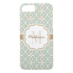 Monogram Eggshell Blue and Gold Quatrefoil iPhone 7 Case