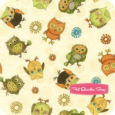 Fall Fun Ivory Tossed Owls Yardage SKU# 80691-187W - Fat Quarter Shop
