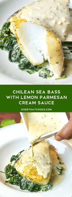 Baking this delicious Chilean Sea Bass in foil along with garlic cream spinach served topped with a creamy lemon parmesan cream sauce makes for the perfect dinner idea anytime! dinner Foil Baked Chilean Sea Bass with Lemon Parmesan Cream Sauce Best Fish Recipes, Tilapia Fish Recipes, Salmon Recipes, Healthy Recipes, Recipes With Fish, White Fish Recipes, Steak Recipes, Fish Dishes, Tasty Dishes