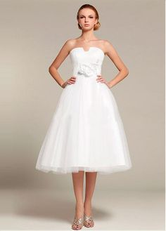 STUNNING TULLE SATIN A-LINE STRAPLESS EMPIRE WAIST TEA LENGTH WEDDING DRESS LACE FORMAL PROM PARTY BALL GOWN CUSTOM SIZE