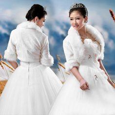 >> Click to Buy << Winter Wedding Bolero Jacket Faux Fur Bridal Shurg Shawl Stole Half Sleeve Cape Evening Wrap Coat in Ivory #Affiliate
