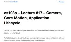#cs193p – Lecture #17 – Camera, Core Motion, Application Lifecycle