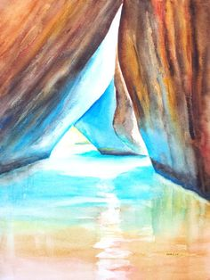 Watercolor ORIGINAL The Baths Virgin Gorda, British Virgin Islands, BVI by CarlinArtWatercolor artist Carlin Blahnik