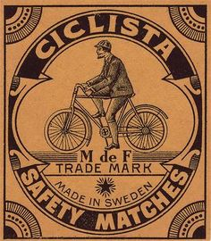 Antique Deco Bicycle Label Archival Mat Packet Size Matchbox C 1900 Sweden | eBay
