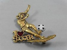 Signed Danecraft I Love Soccer Red Heart Girl Pin / Brooch