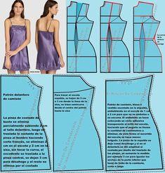 Camison de tiras con encaje y escote en la espalda y forma de desarrollar los patrones Lingerie Patterns, Sewing Lingerie, Dress Sewing Patterns, Clothing Patterns, Sewing Patterns Free, Sewing Lace, Babydoll, Bib Pattern, Retro Apron