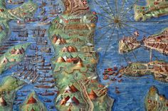 From the Gallery of Maps in the Vatican, a stunning set of large-scale paintings that showcase Italy through wonderfully rich and vibrant topographic maps. They were drawn by geographer Ignazio Danti as part of a Commission by Pope Gregory XIII in 1580.