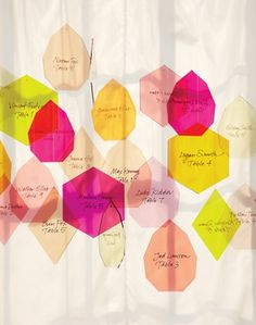 Use coloured plastic and cut into various jewel shapes for hanging escort cards.