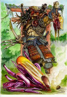 Predator in Japan Alien Vs Predator 2004, Predator Alien, Predator Cosplay, Badass Movie, Badass Drawings, Giger Art, Alien Spaceship, Alien Concept Art, Aliens Movie