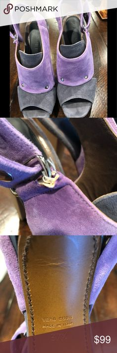 "Marni suede heels grey & light purple 37.5 Beautiful Marni suede heels! Worn twice. Amazing condition except there is a small tear on right shoe buckle. See pictures. Heels are approx 5"" high. These shoes are gorgeous! Marni Shoes Heels"