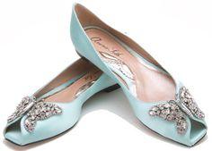 Found them! Aruna Seth Liana Ballerina in Tiffany Blue Satin (or light pink). So good!!