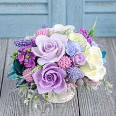 Buy Bouquet of flowers Lavender Provence. Sugar Flowers, Silk Flowers, Paper Flowers, Gum Paste Flowers, Polymer Clay Flowers, Paperclay, Arte Floral, Flower Boxes, Flower Designs