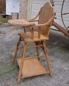 Vintage Wooden Convertible Baby High Chair Playpen Display Full Size Needs Work