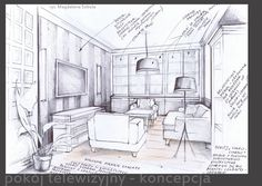 Sketch to the interior project by Magdalena Sobula Pe2