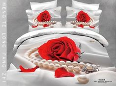 Cheap bed in a bag, Buy Quality bed in bag directly from China cotton bed Suppliers: Red Rose Pearl Bedding set Queen size Cotton bed sheets duvet cover bedspread bed in a bag sheet linen oil painting Luxury Comforter Sets Queen, Red Bedding Sets, Cotton Bedding Sets, Bedding Sets Online, Queen Size Bedding, White Bedding, 3d Bedding, Floral Bedding, Bed Covers