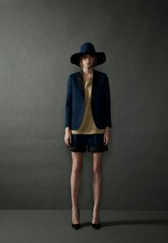 THE RERACS SS 2013 (designer): floppy hat + boyfriend blazer + blouse + folded shorts : tomboy style, androgynous