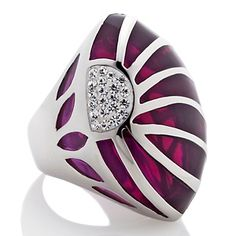 """Stately Steel Crystal-Accented Purple Marquise """"Sunray"""" Ring at HSN.com."""