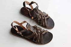 "Leather Sandal Brown Greek Style Flat Summer Women COISAS Sandal   ""Braid"" CSLF017"