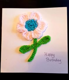 My Sunday Snapshot - Crochet Flower Card - Raisie Bay My Favorite Color, My Favorite Things, Owl Card, How To Make Clothes, Photo Link, Repeating Patterns, Flower Cards, Crochet Flowers, To My Daughter