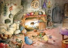Chestnut Roasting by Gabriel Evans Fantasy Kunst, Fantasy Art, Little Critter, Woodland Creatures, Beatrix Potter, Children's Book Illustration, Book Illustrations, Whimsical Art, Cute Art