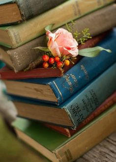 Vintage books and flowers.